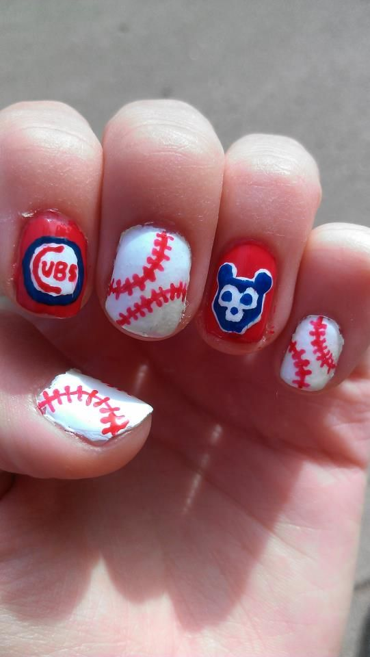 Cubs baseball . . . Just needs to be neater | Nails | Pinterest ...