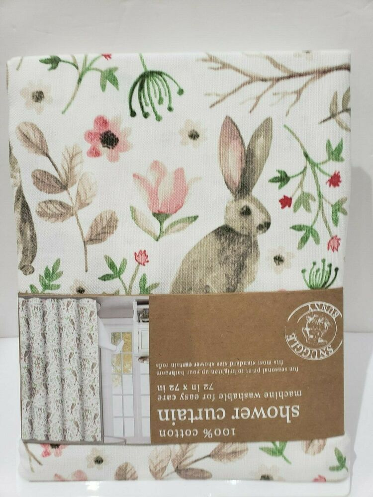Snuggle Bunny Easter Bunny Rabbit Fabric Bathroom Shower Curtain