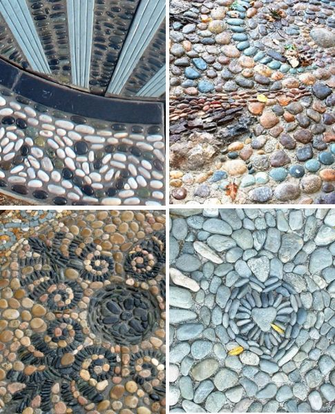 the Ancient Art of Pebble Mosaics Pebble Mosaics are garden art that like shell mosaics, celebrate natural materials that may be locally available. I love the idea making a garden 'carpet' from time collected stones. This one was made by Jeffery Bale for this article in Fine Gardening. He also made this terrific path Maggy Howarth is cons