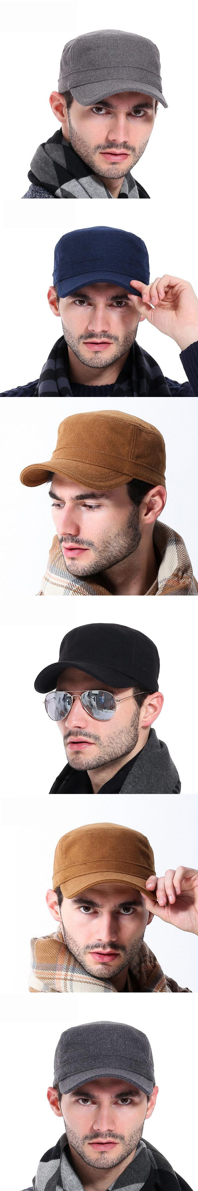 f8d56563899 Outdoor Men Military Hat 2016 New Fashion Casual Adults Autumn Winter  Military Hats Flat Top Imitation