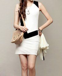 $7.70 Color Block Scoop Neck Sleeveless Packet Buttock Casual Dress For Women