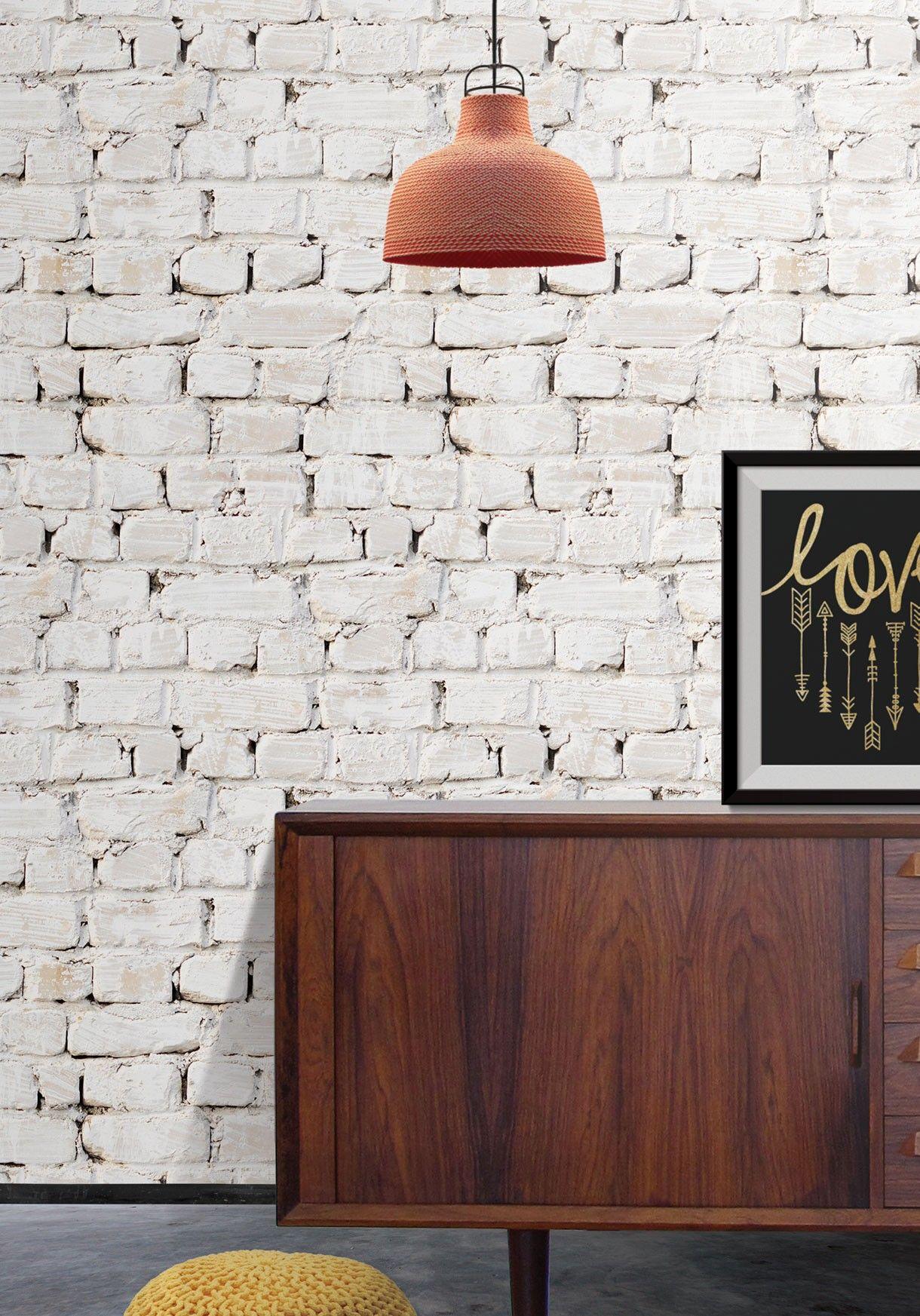 whitewash brick wallpaper from kemra | ideas para el hogar