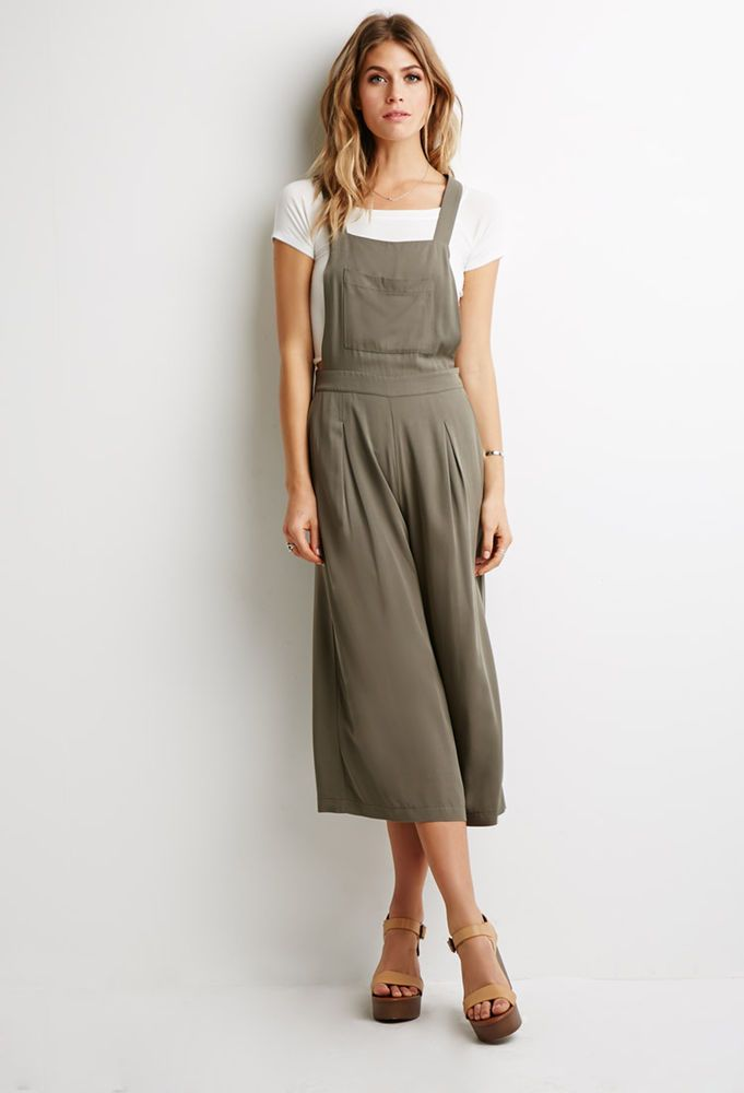 af928556ca FOREVER 21 Women s Olive Green Contemporary Pleated Wide-leg Overalls