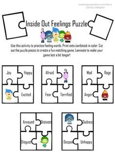 Inside Out Feelings Puzzle Freebie | Worksheets | Social