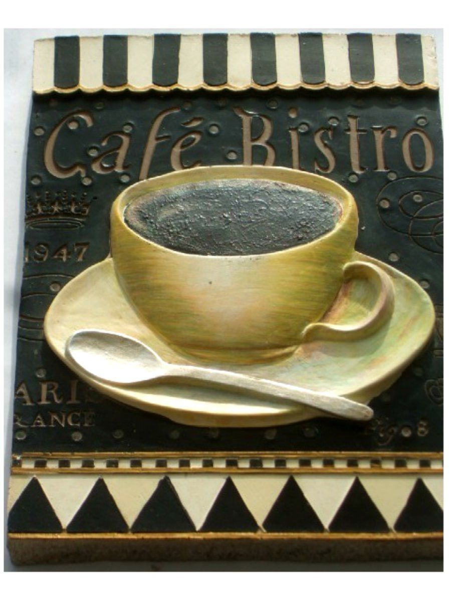 Cafe Bistro Coffee Cup Resin Wall Plaque $15.95 | Wake up & smell ...