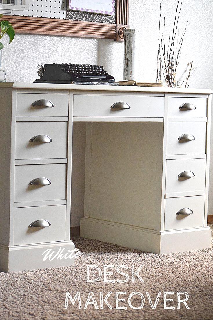 White Desk Restyle White Desks Desk With Drawers Dark Wood Desk