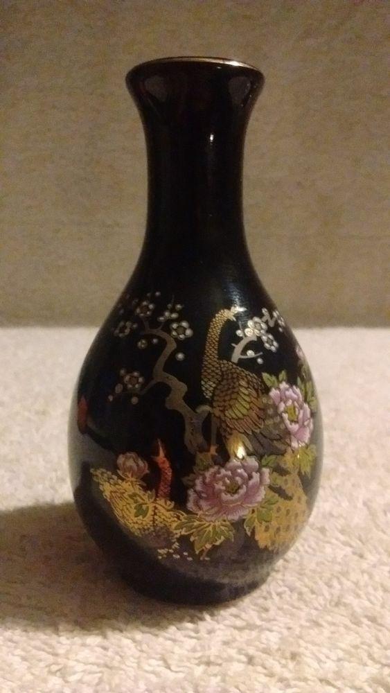 Hand Painted Peacock Vase Vintage Vase Made In Japan Japanese