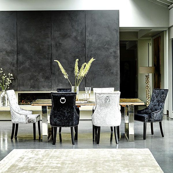 Melia Crushed Velvet Dining Chair Silver  Dining Chairs  Dining Inspiration Black And White Dining Room Design Ideas