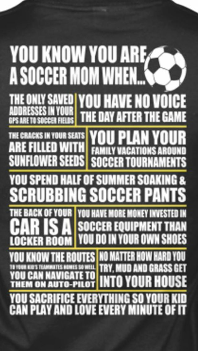 I am not a soccer mom but I mange the boys soccer team on off season so  this is basically my life