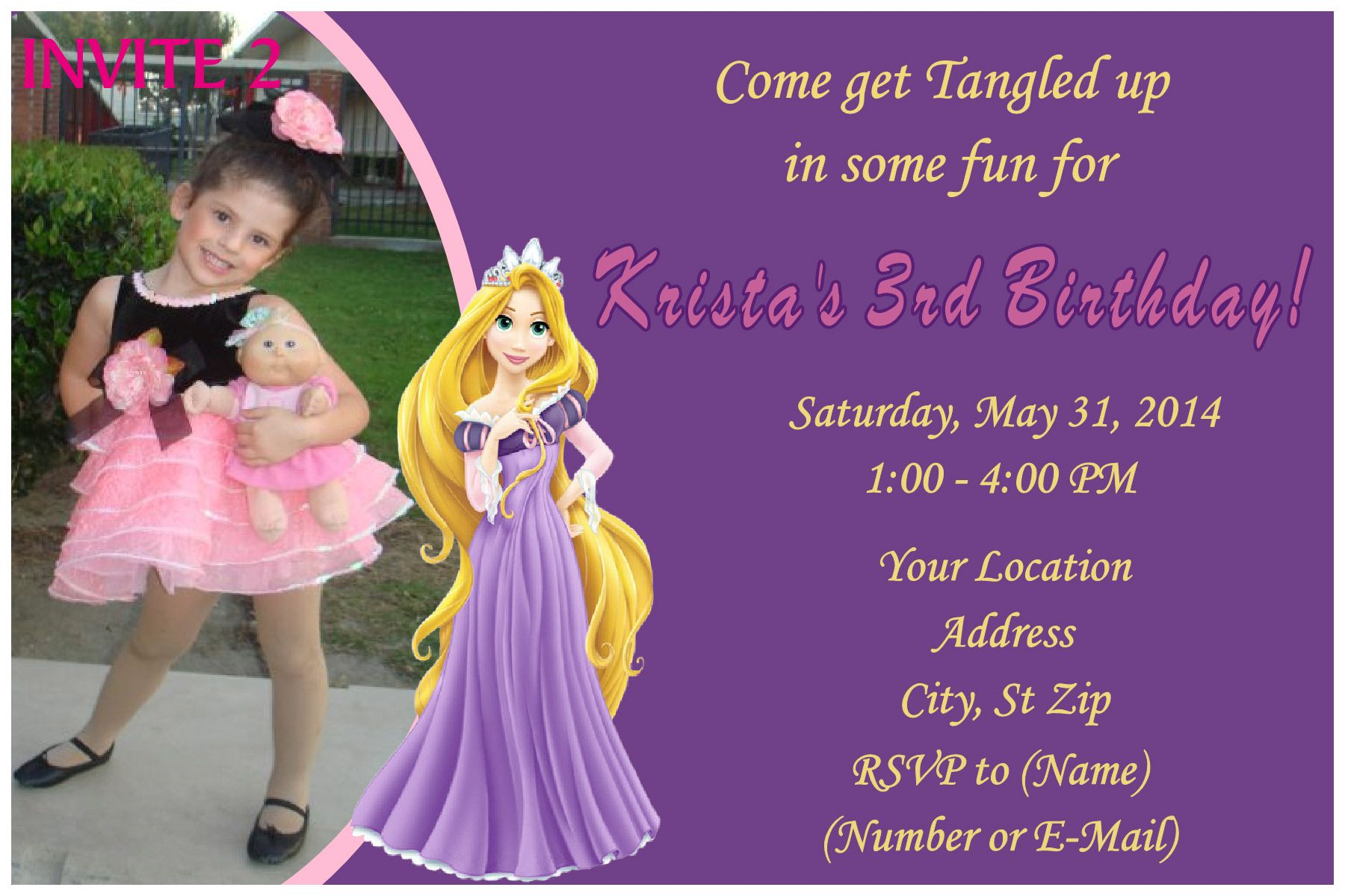 Rapunzel Tangled Birthday Invitation on the image twice to