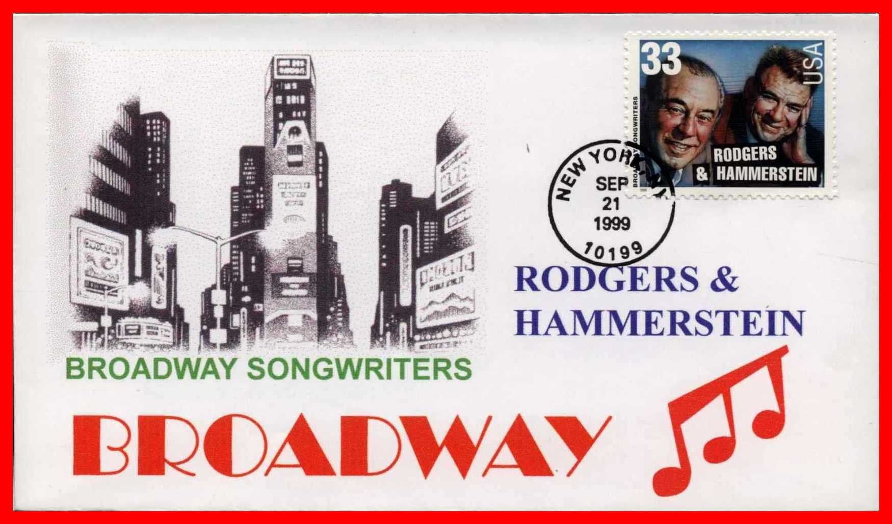 First Day Issue, Stamp, Broadway Songwriters, Rodgers
