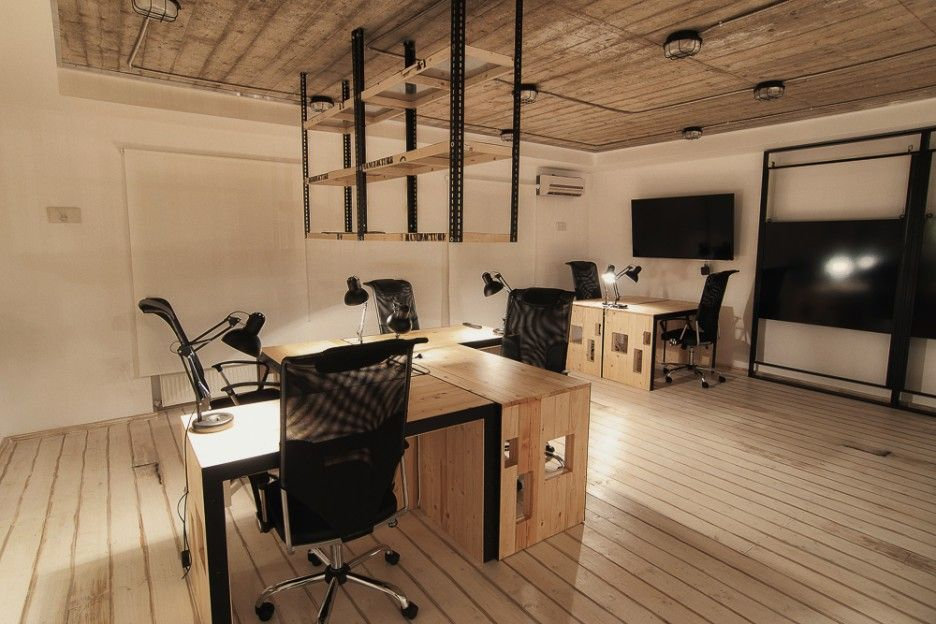 Modern rustic office new harbor farm office pinterest for Industrial office interior design
