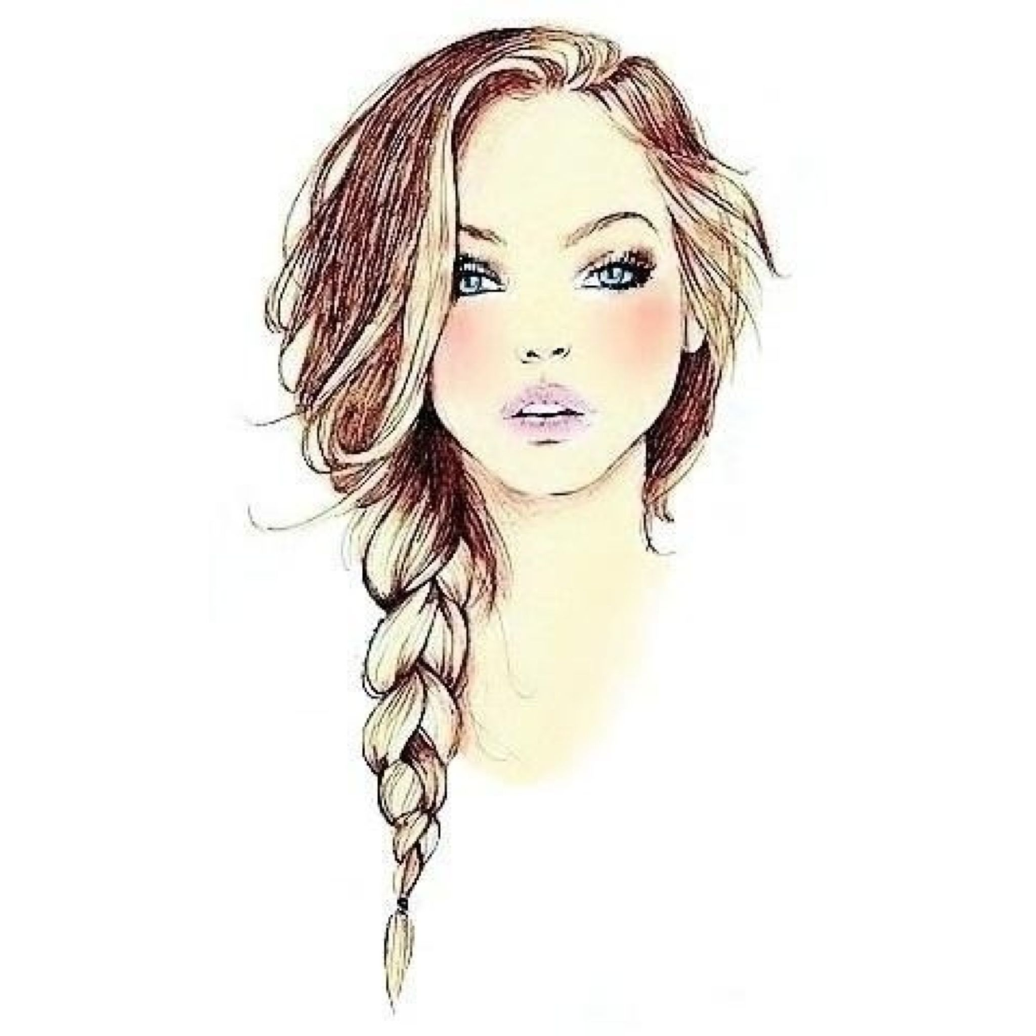 Beautiful #drawing of a #hair #braid | Illustration Hair ...