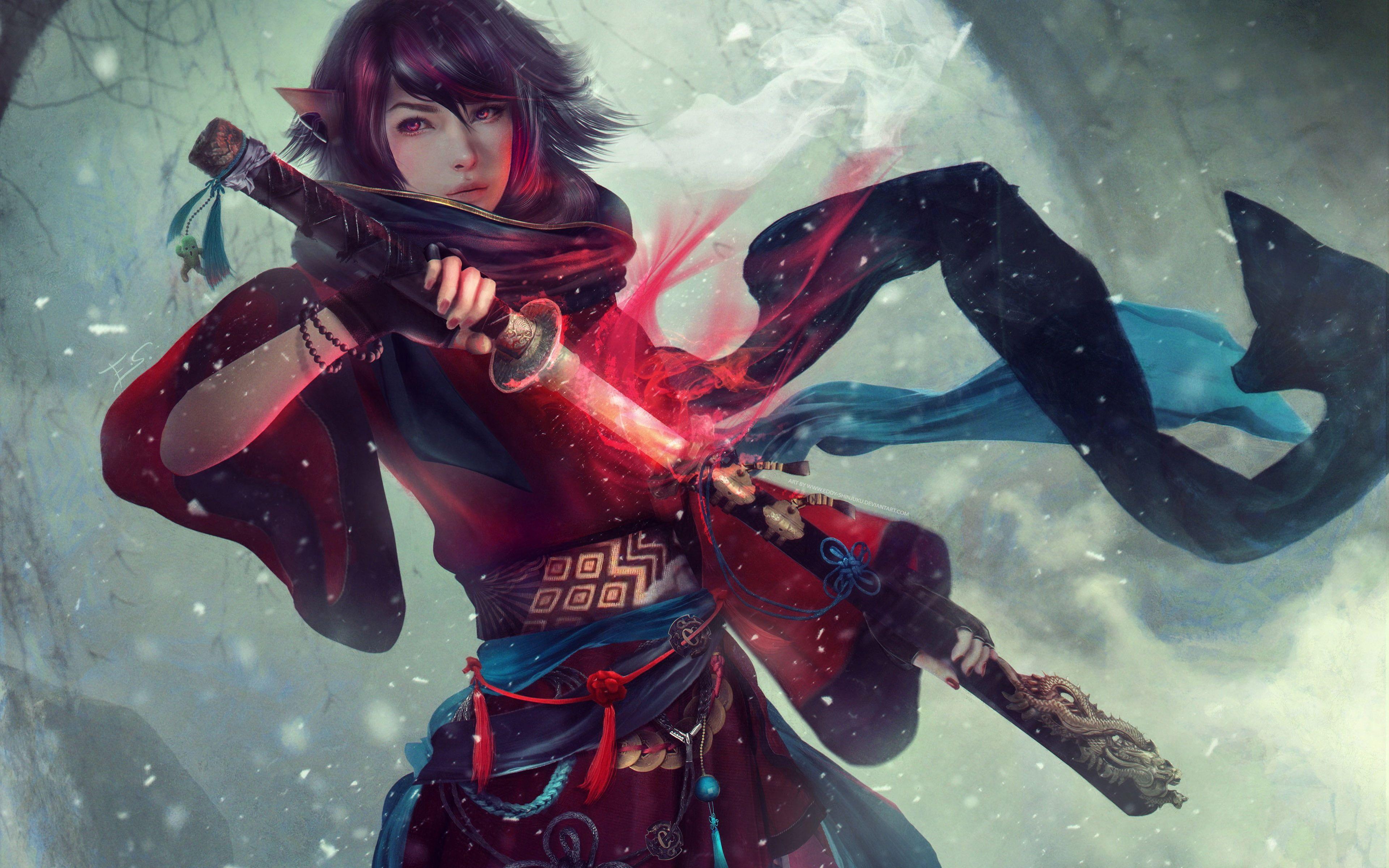#women #Asian #artwork #samurai #sword fantasy art # ...  Final Fantasy Female Characters Wallpaper