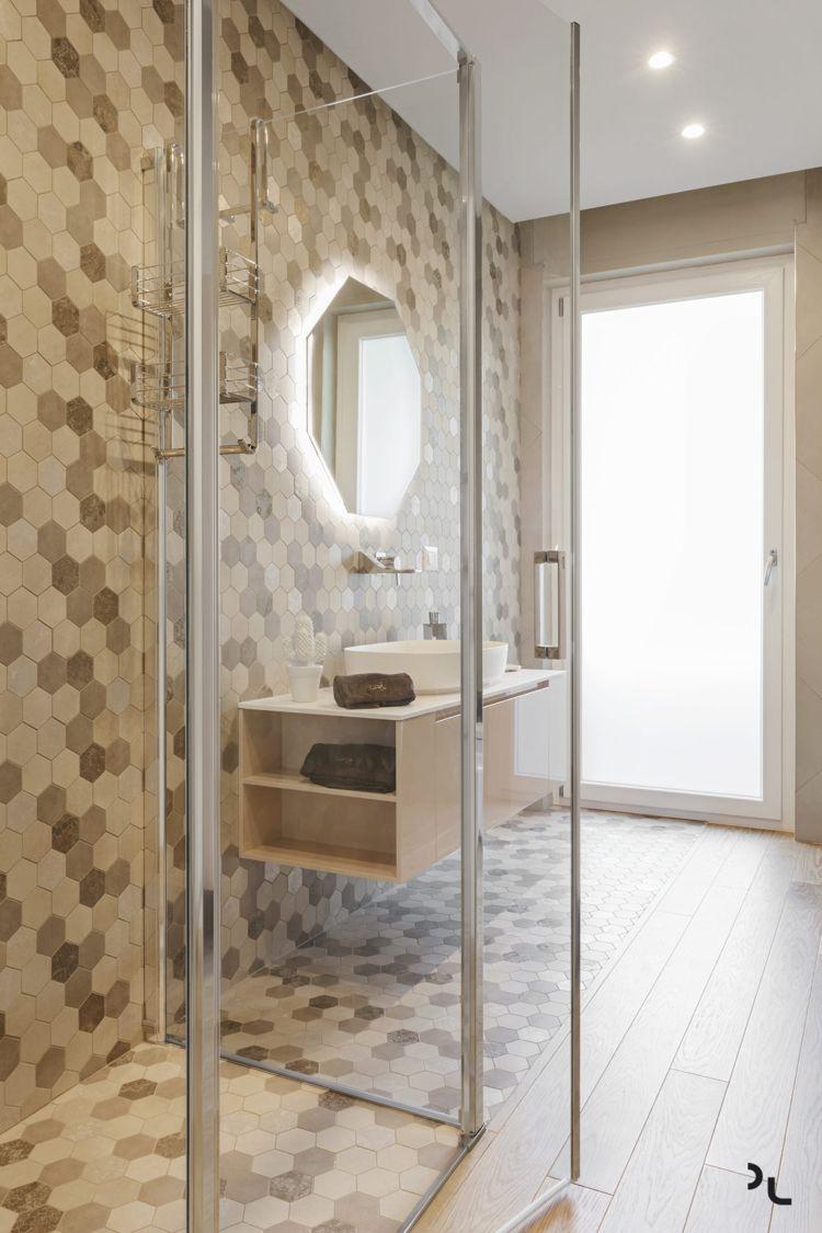 holz modern badezimmer holzfliesen fliesen sechseckig creme farbe ...