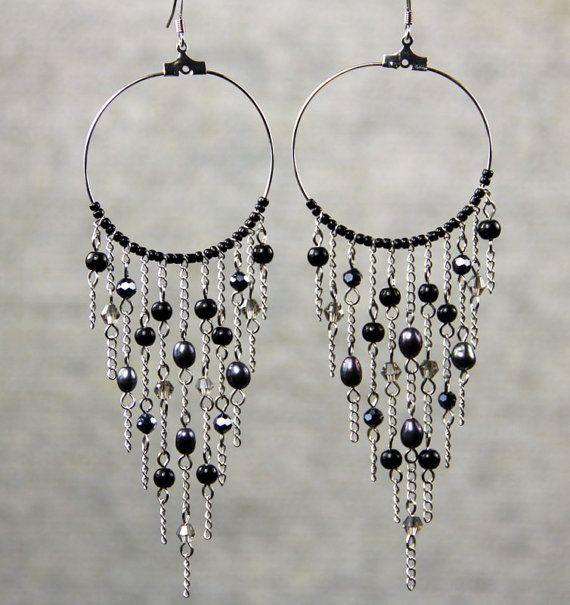 Black pearl big hoop chandelier earrings bridesmaids gifts free us black pearl big hoop chandelier earrings bridesmaids gifts free us shipping handmade anni designs mozeypictures Images