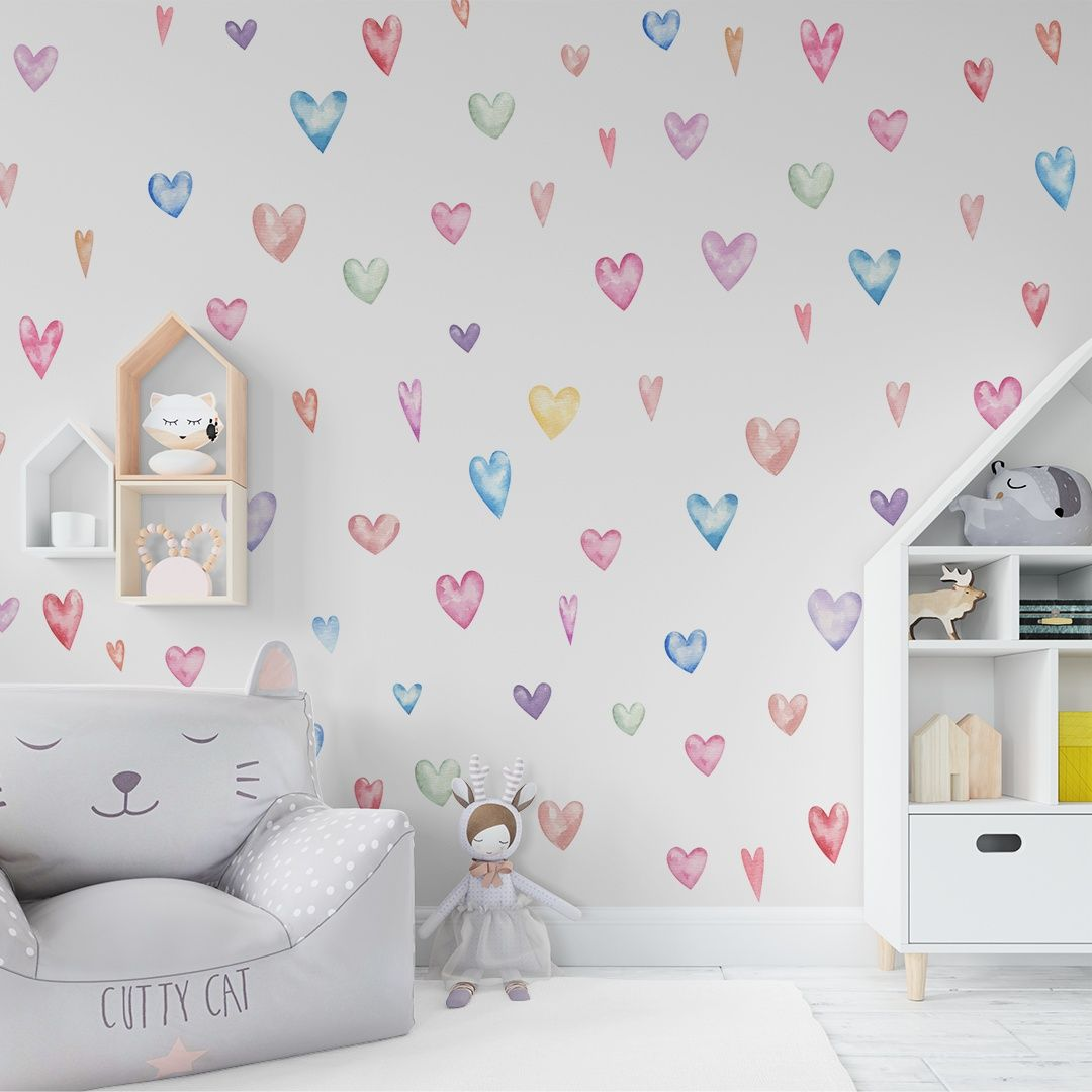 Stickers – Set With Colorful Hearts