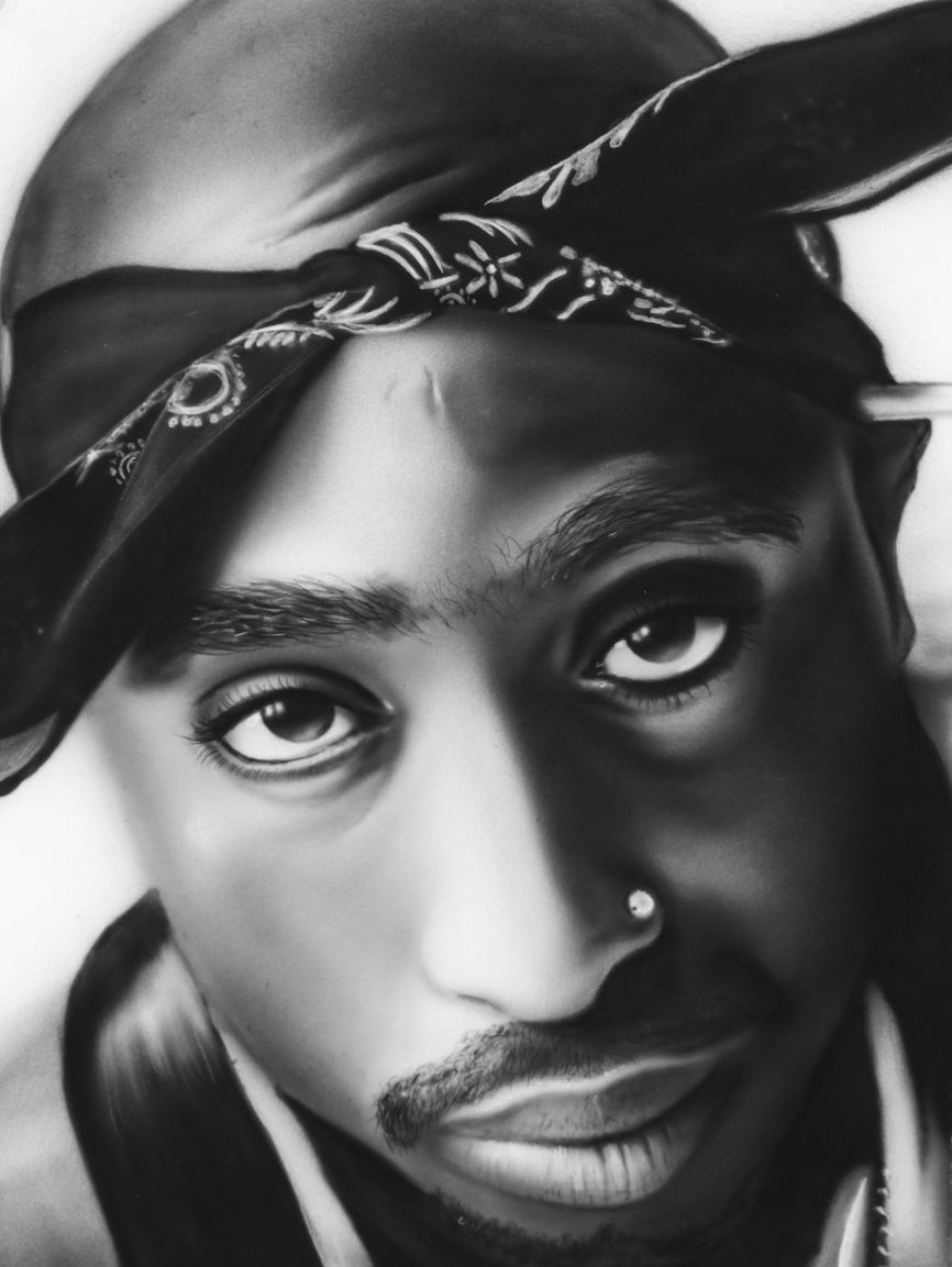 Black and white airbrush portrait of tupac shakur airbrush airbrushing