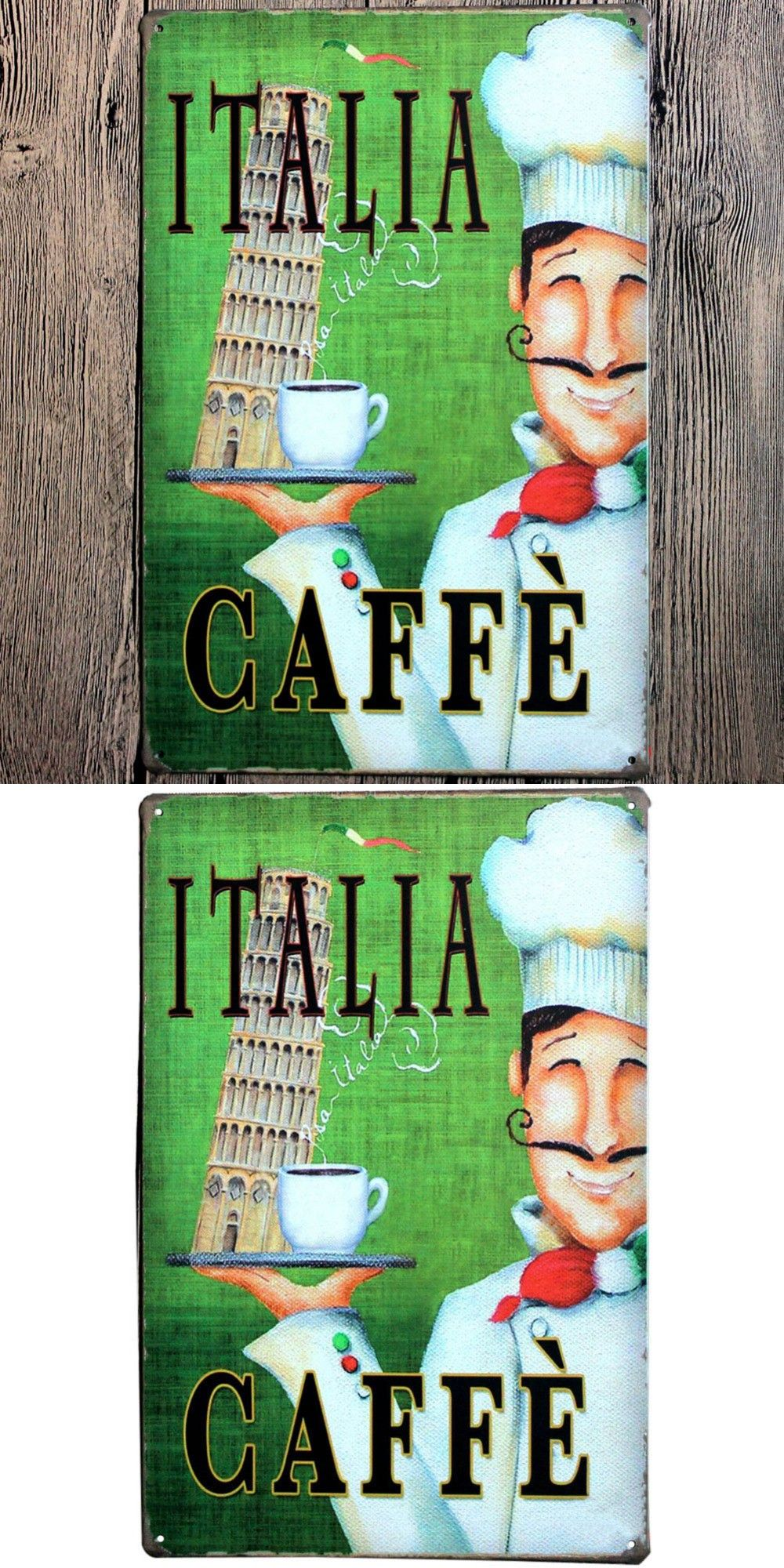 Italia caffe wall art painting craft metal poster tin sign wall