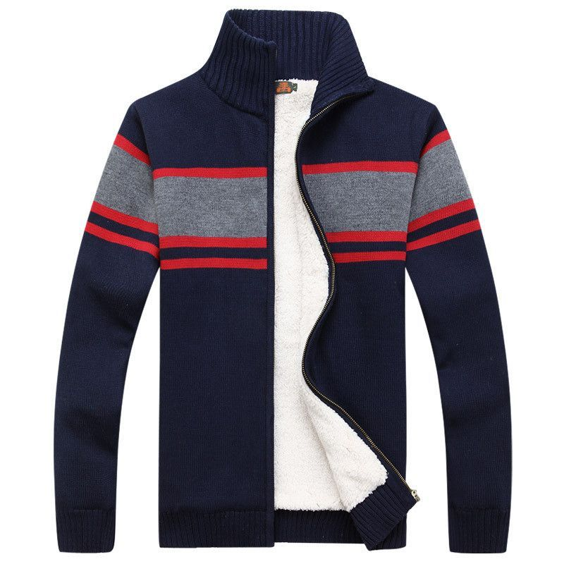2015 Mens Sweater Warm Thick Velvet Cashmere Sweaters Men Winter Cardigan zipper Top stand Collar Men Casual Clothes