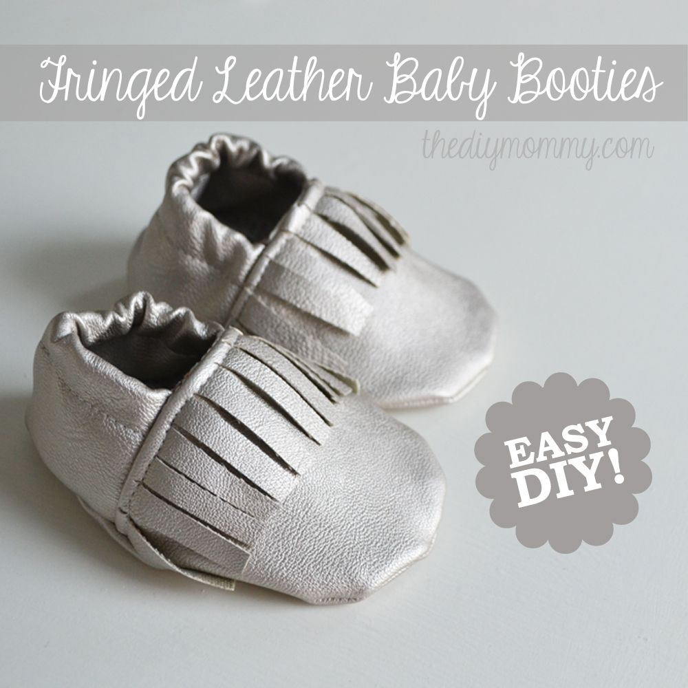 DIY Fringed Leather Baby Booties Moccasins Tutorial | Sewing (For ...