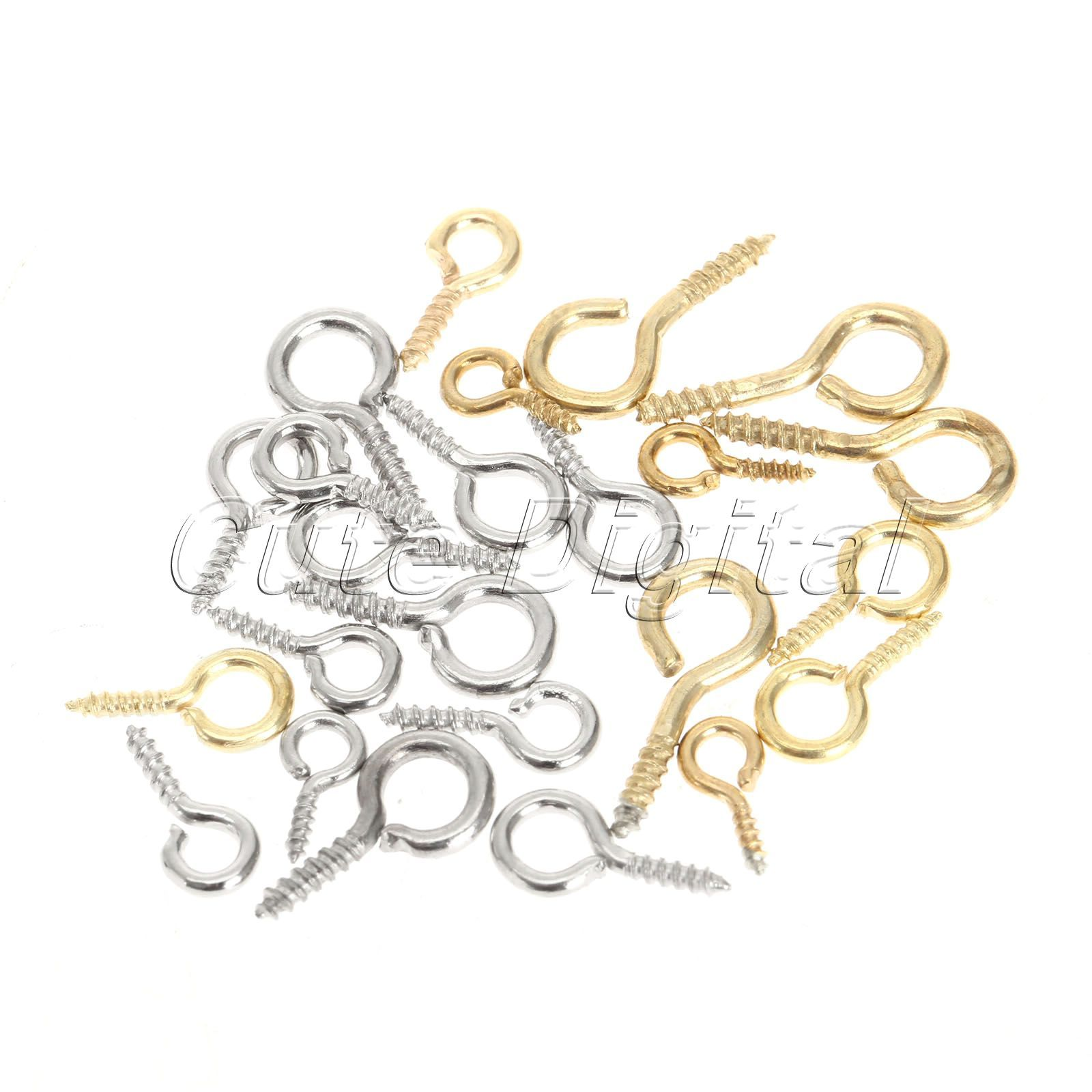 200pcs Gold/Silver Metal Small Mini Eye Pins Eyepins Hooks Eyelets Screw Clasps Jewelry Findings Threaded Hardware 0# 14.5x6mm  EUR 3.66  Meer informatie  http://bit.ly/29J7tBI #aliexpress