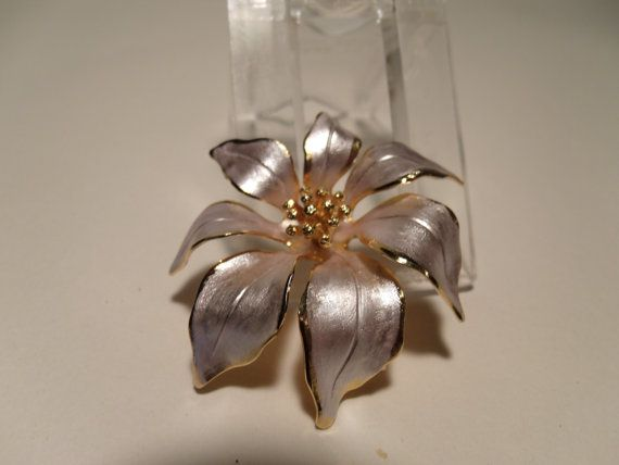 Poinsettia Brooch  Marked Cerrito by Andersonsvintage on Etsy, $18.00