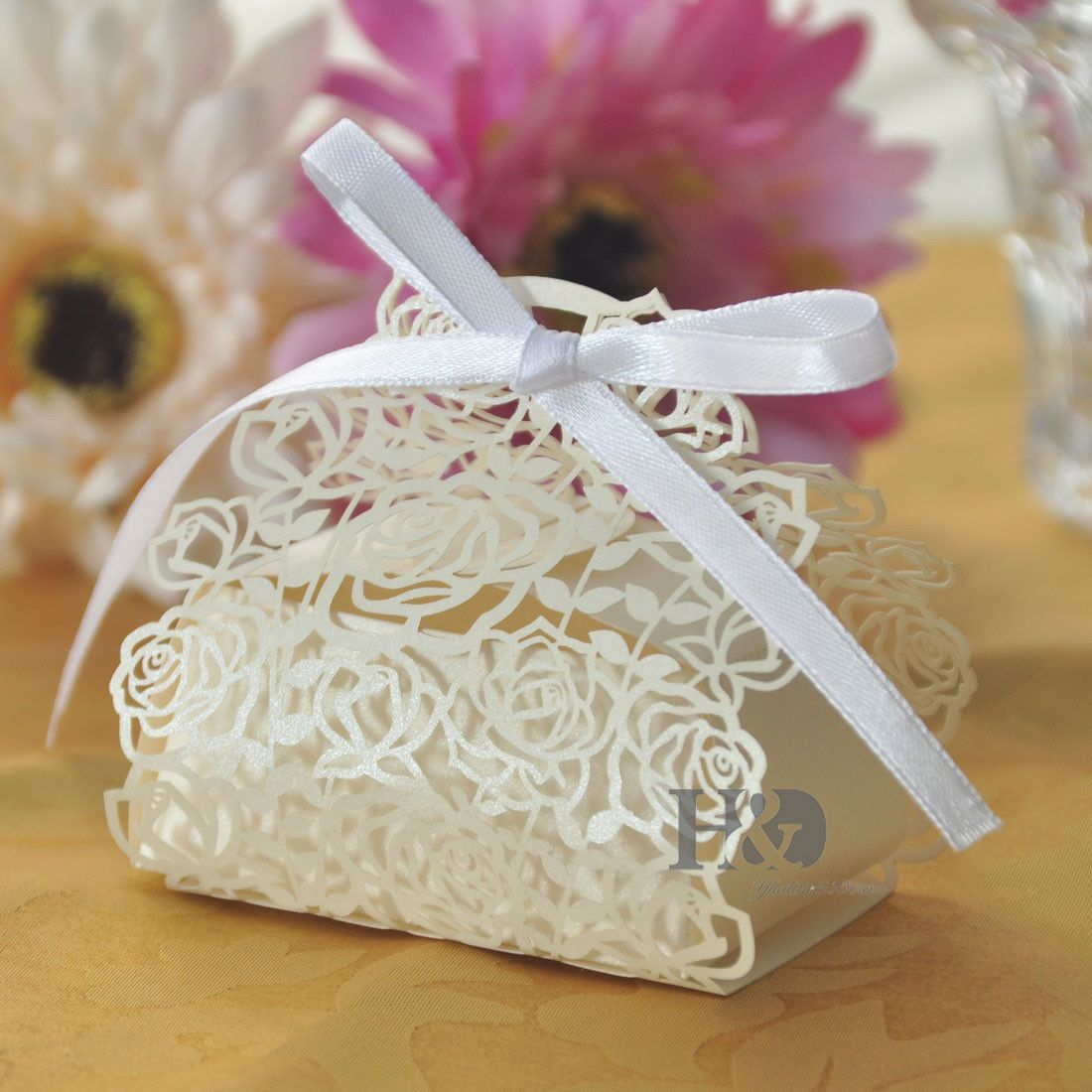 Details about Wholesale 200 Ivory Rose Candy Boxes Wedding Favor ...
