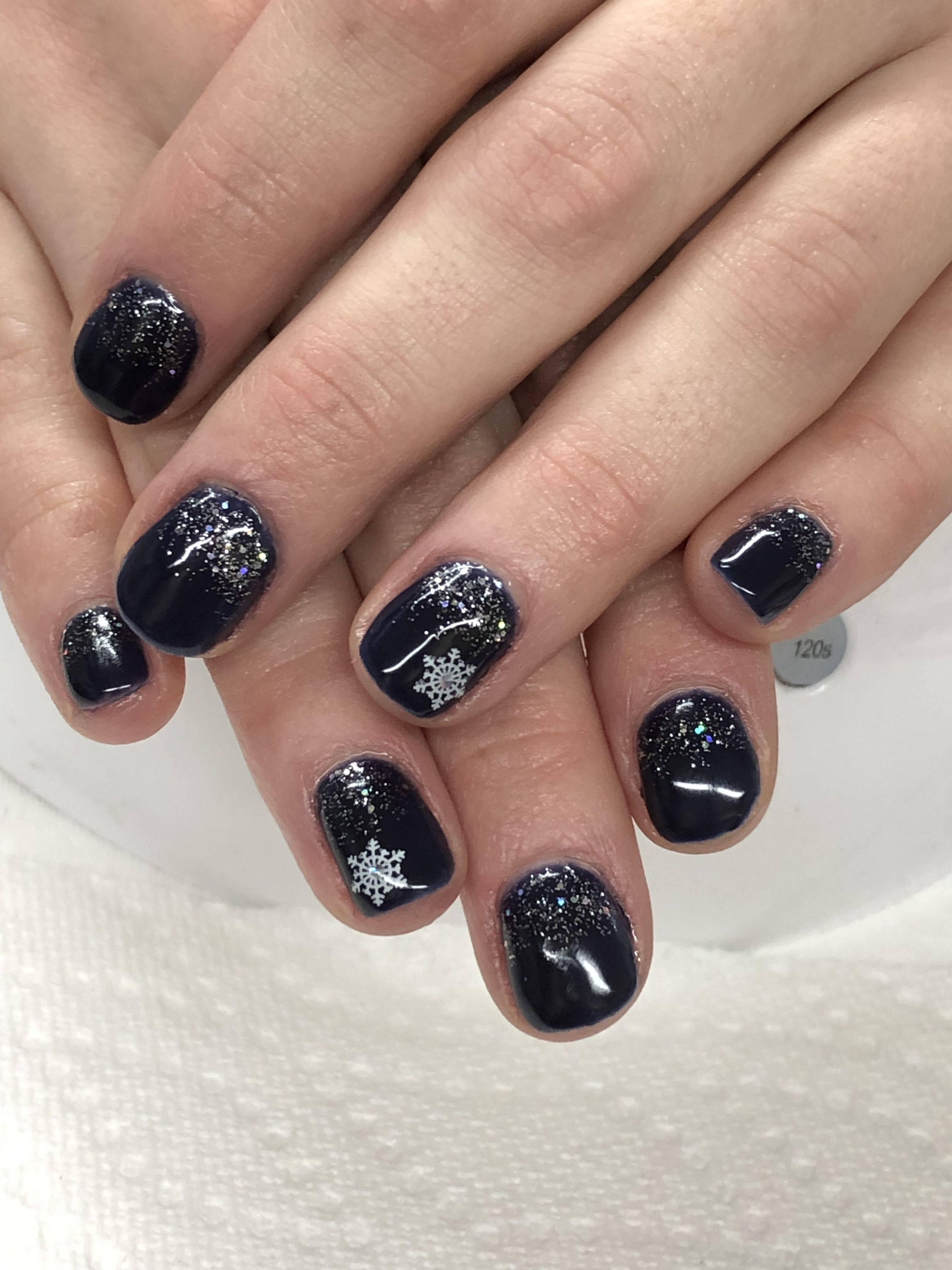 Navy Christmas Winter Glitter Snowflake Gel Nails Christmas Nails Easy Christmas Nail Art Easy Gel Nails