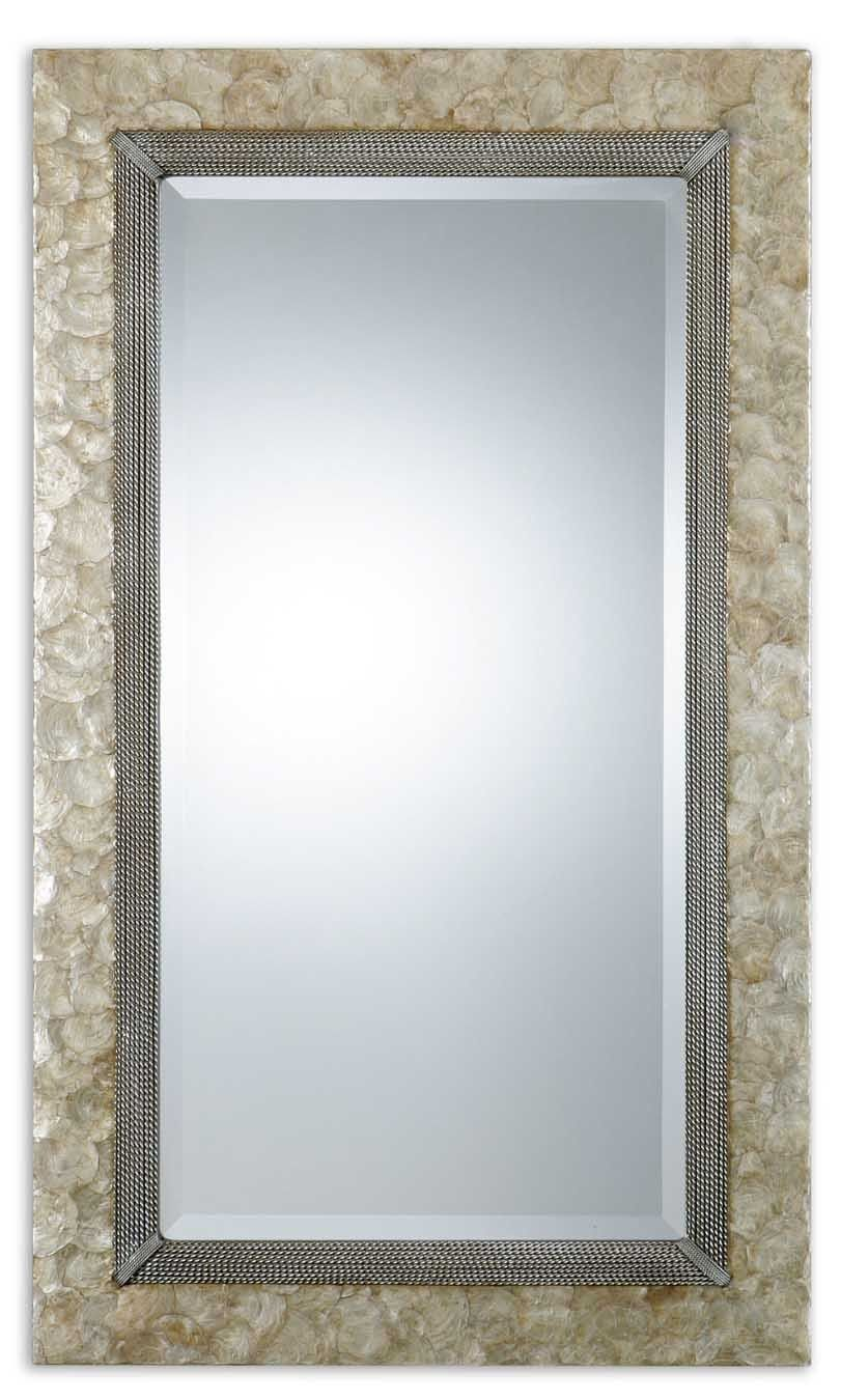 Large pearl shell framed mirror with capiz shell and rope details pearl wall mirror frame is made from lightly stained mother of pearl shell with champagne highlights and antiqued silver metal rope details jeuxipadfo Choice Image