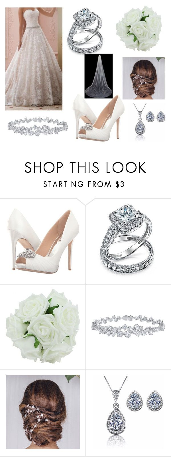 """""""Maddie's wedding"""" by smithy-32 ❤ liked on Polyvore featuring Badgley Mischka, Bling Jewelry and Harry Winston"""