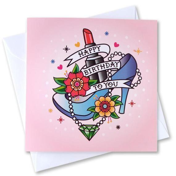 Happy Birthday Art Card Vintage Rockabilly Style Traditional