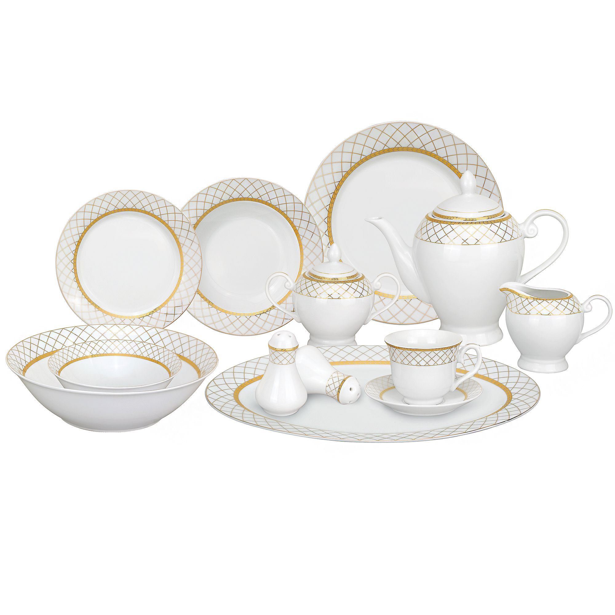 Porcelain  sc 1 st  Pinterest & Lorren Home Trends 57-piece Porcelain Gold Accent Dinnerware Set by ...