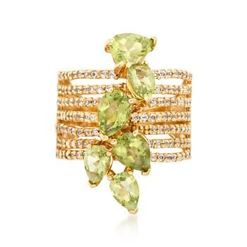 Ross-Simons - 3.60 ct. t.w. Peridot and .90 ct. t.w. White Topaz Multi-Row Ring in 18kt Gold Over Sterling - #872136