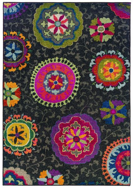 Vibrant Floral Grey And Multicolored Area Rug 4 X 5 9 Home