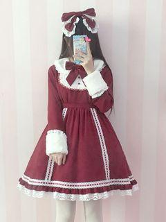 0f2ea98a7dfd Sweet Lolita Dress OP Ture Red Lolita Dress Detachable Fur Collar Lace Trim  Bow