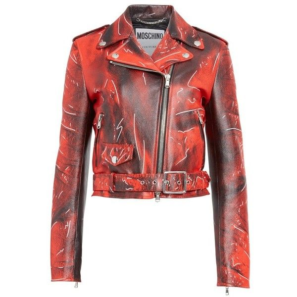 Women's Moschino Print Leather Moto Jacket ($3,695) ❤ liked on Polyvore featuring outerwear, jackets, red jacket, leather jackets, fitted jacket, fitted motorcycle jacket and moto jacket