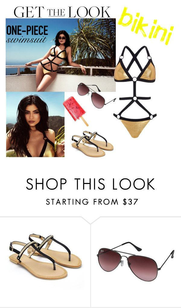 """""""Get the Look: Swimsuit Edition"""" by karinelechka ❤ liked on Polyvore featuring Topshop, Ray-Ban, GetTheLook, KylieJenner and Swimsuits"""