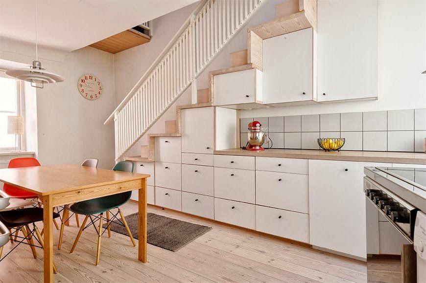 En el espacio de la escalera hacer cocina buscar con for Escalera de cocina