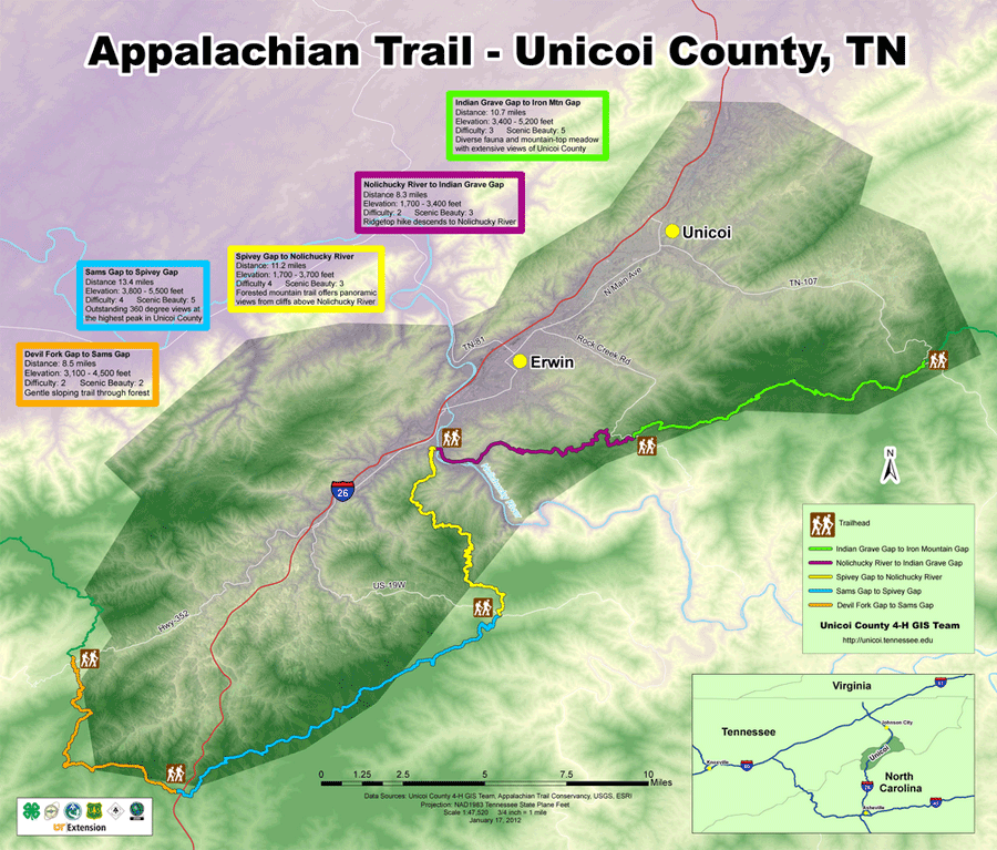 4-H\'ers hike and map Appalachian Trail in Unicoi County, Tennessee ...