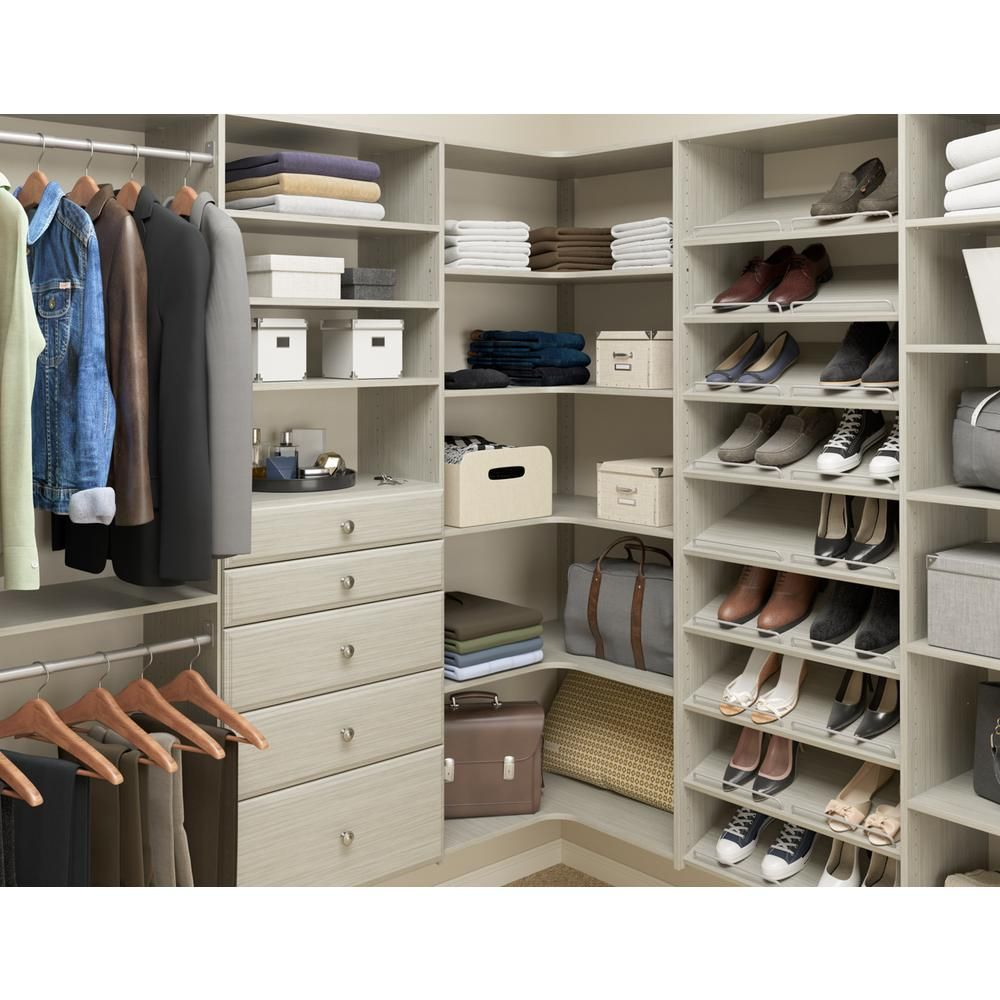 Martha Stewart Living 14 In D X 25 125 In W X 72 In H Rustic Grey Wood Essential Shoe Tower Closet Kit Closet Layout Bedroom Closet Design Home Depot Closet