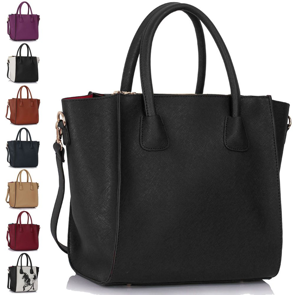 Details about Womens Black Handbags Leather Ladies Shoulder Bags ...