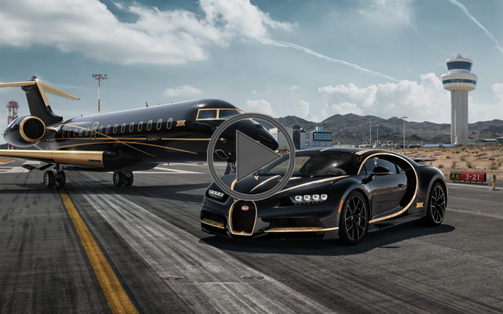 Download wallpapers Bugatti Chiron, black supercar, hypercar, tuning Chiron, Bombardier Global