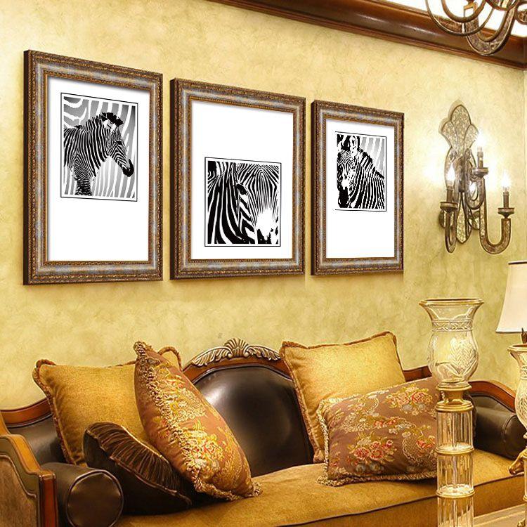 Black and white zebra decorative painting modern minimalist living ...