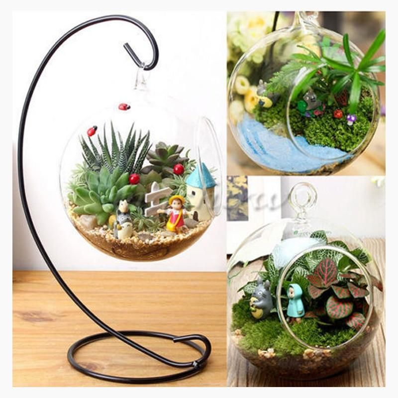 Photo of Clear Flower Plant Stand Hanging Vase Terrarium Container Glass Hydroponic Home Office Wedding Decor – 8CM