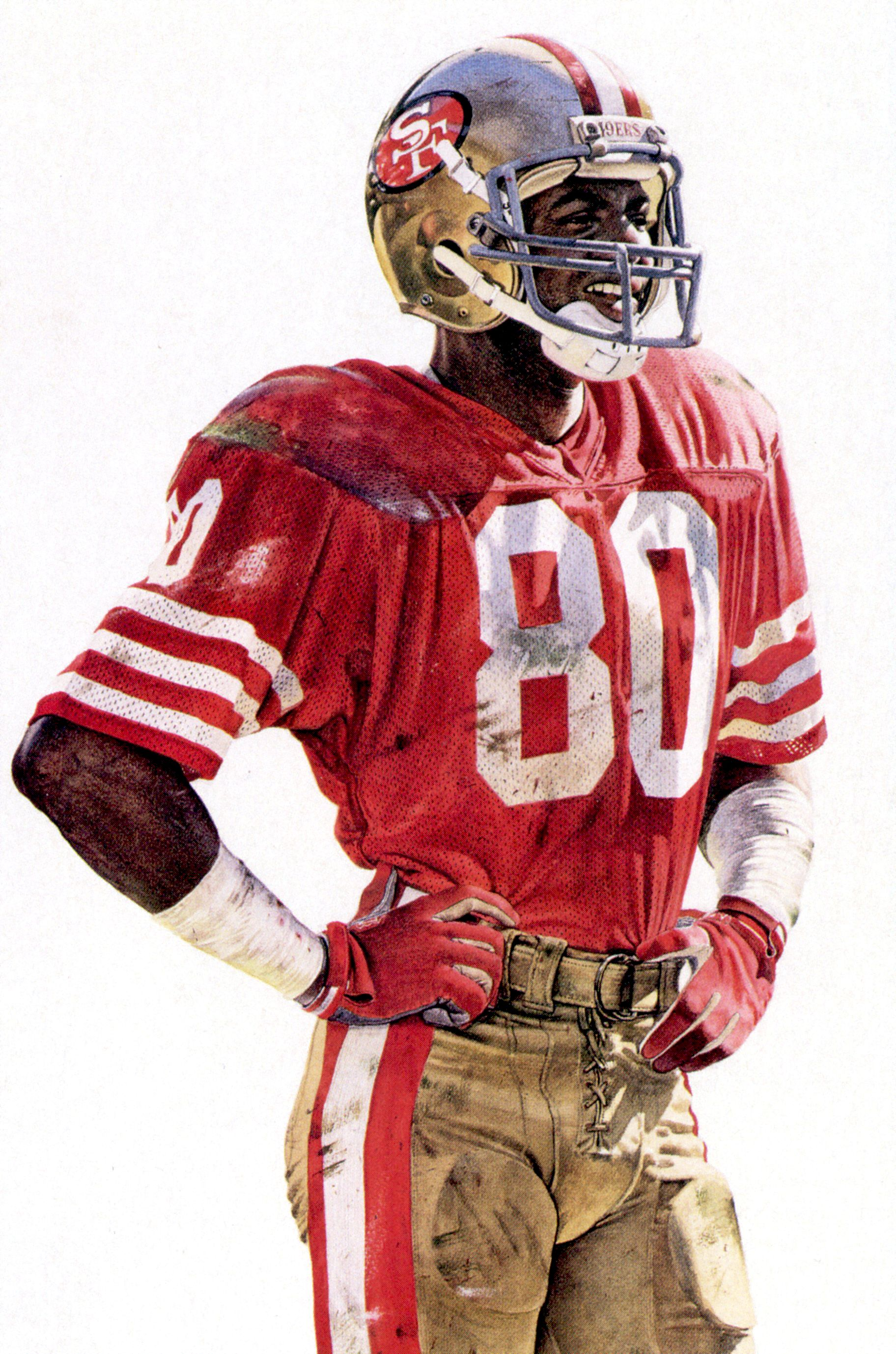 Portrait Of Sf 49ers Jerry Rice By Merv Corning San Francisco 49ers Football Nfl Football 49ers 49ers Football