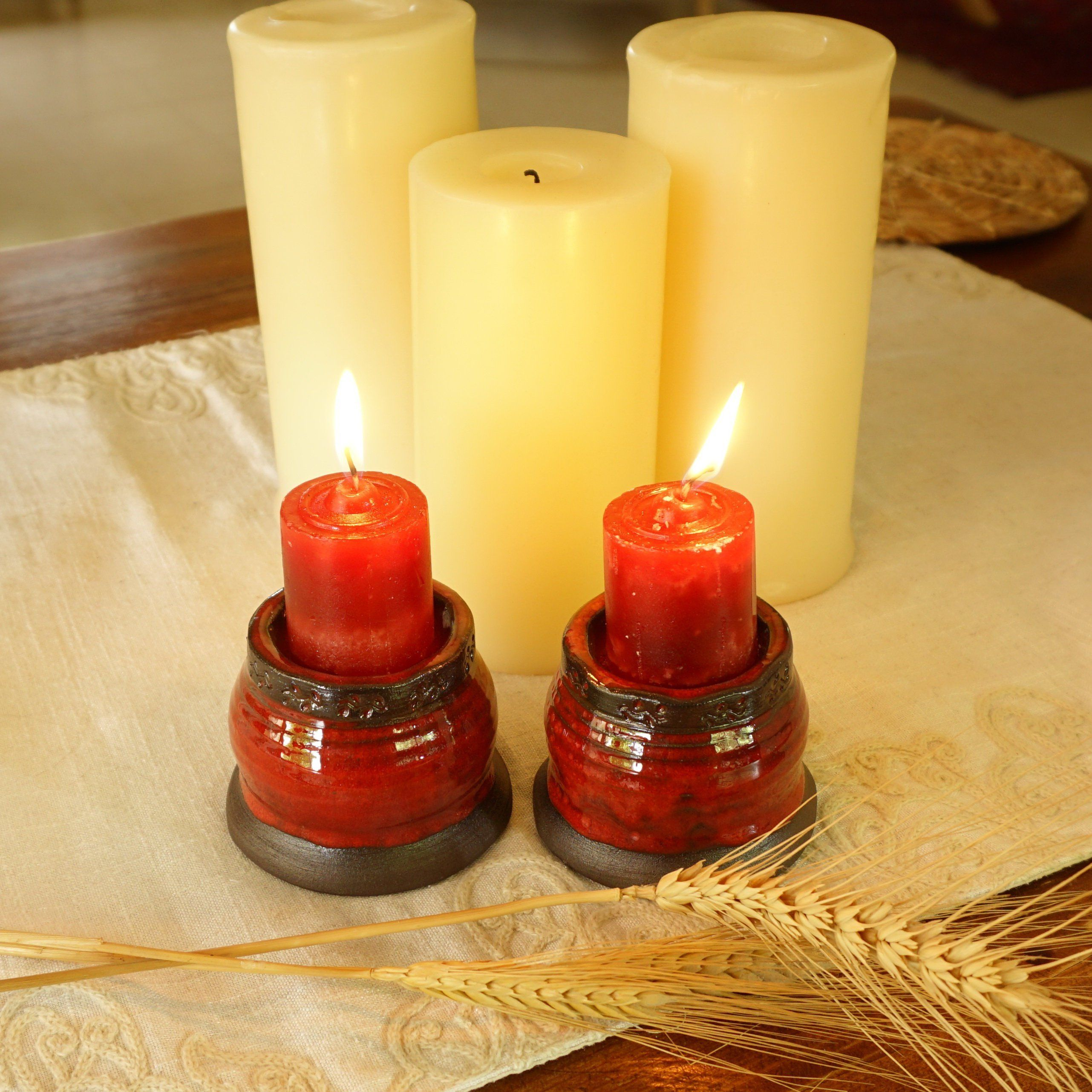Set of candle holder red glaze ceramic candle set tea candle