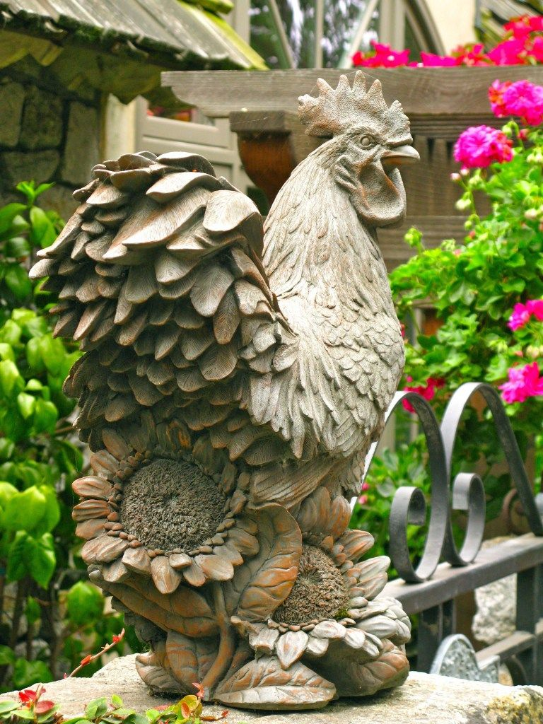 Find This Pin And More On Garden Decor By Sassynancy. Rooster And  Sunflowers Statue