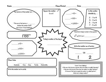 Number of the Day Worksheet: Lower Middle School 6/7