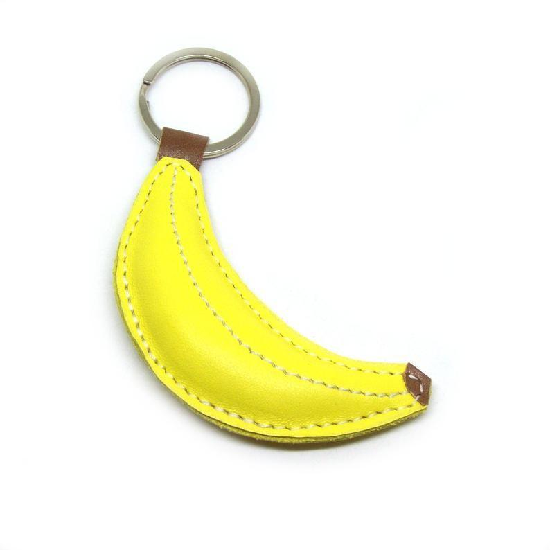 Porte-cl/és Banane Cuir CVG Jaune